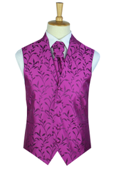 Classic purple silk leaf waistcoat with lapel