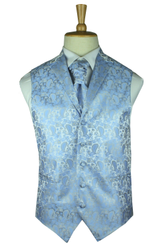 Heritage blue paisley waistcoat with lapel