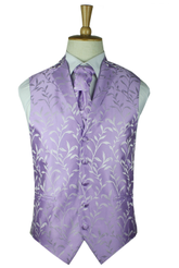 Classic lavender silk leaf waisctoat with lapel