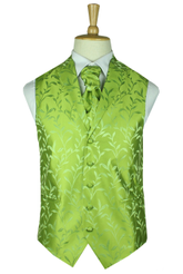 Classic lime silk leaf wasitcoat with lapel