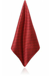 RED/BLACK POLKA DOT SILK JACQUARD HANDKERCHIEF