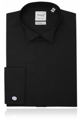 Wing collar, plain fly front black dress shirt