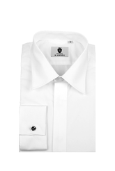 Standard collar, plain fly front dress shirt