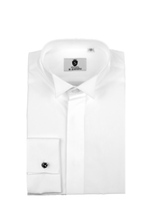 Swept back wing collar, plain front dress shirt