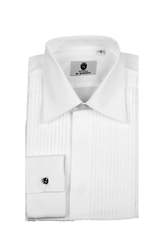 Standard collar, pleated front dress shirt