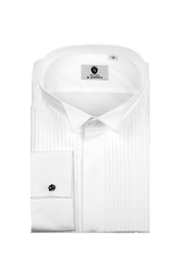 Wing collar, pleated front, long sleeve dress shirt
