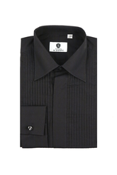 Standard collar, pleated front,  black dress shirt
