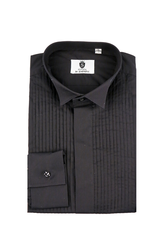 Wing collar, pleated front black dress shirt