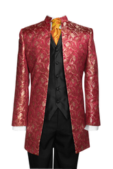 "Jacket ""Nehru"" red silkbrocade"