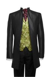 "Jacket ""Nehru"" black silk taffeta"