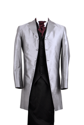 "Frockcoat ""The Dandy"" silver silk taffeta SALE"
